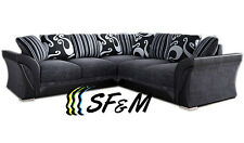 NEW LARGE SHANNON CORNER 5 SEATER GREY / BLACK FABRIC / FAUX LEATHER SETTEE SALE