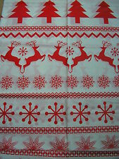 "christmas table cloth 54"" x 72"",plastic red and white snow flake,reindeer design"
