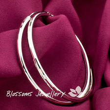 925 Sterling SILVER Round 5.8CM Pattern Extra LARGE Womens HOOP EARRINGS EFS012