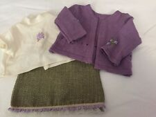 EUC American Girl Doll Purple Sweater Outfit White Shirt Green Skirt
