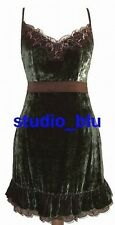 DOLCE & GABBANA D&G Green Velvet Satin Lace Ruffle Dress 42 6