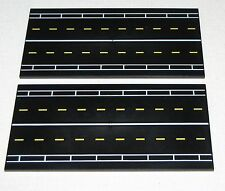 LEGO LOT OF 2 NEW 8 X 16 DOT BLACK TILES SMOOTH RUNWAY ROAD PATTERN