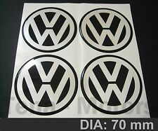 4 x VW 70mm Wheel Center Resin Silicone Vinyl Sticker 3D Decal Badge Emblem Logo