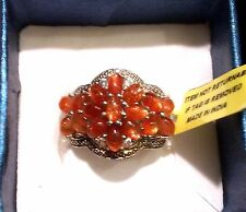 Sri Lankan SUNSTONE , White TOPAZ Cluster RING in Plat / Sterling Silver 6.15 Ct