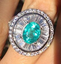 Wow! Apatite earth mined gem 2.52ct Sterling Silver platinum over ring 6.25