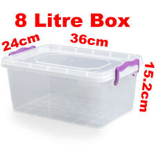 8L 8 Litre Clip Handle Plastic Clear Trendy Food Multi Box Container 021102