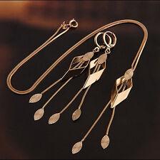 Luxury 18k Gold Plated Rhombus Jewellery Set Drop Earrings & Necklace S372