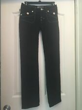 ROCK & REPUBLIC A21 Black Gwen Straight Leg Jeans Size 25 (13x30.5)
