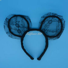 Girl Minnie Mickey Mouse Ears Headbands Black Lace Party Favors Hair Accessories