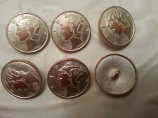 "1"" Metal COIN Buttons (6 pc) LIBERTY QUARTER MERCURY - Rubbed COPPER SILVER"