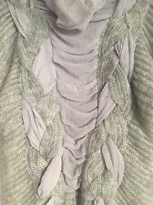 Ethereal Soft Braided Grey Knit & Chiffon Nina Ricci ? Designer Sweater XS