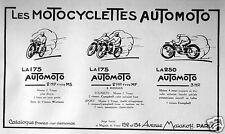 PUBLICITÉ 1927 LES MOTOCYCLETTES AUTOMOTO - ADVERTISING