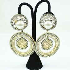 Costume Round Beaded Faux Pearl Dangle Cil-On Earrings with Rhinestones