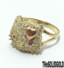 NEW LADIES 10K YELLOW GOLD 14 MM WIDE HELLO KITTY RING