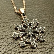 Wholesale Gold snowflake Crystal Sweater chain Charm necklace Pendants XL627