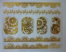 3D Nail Art Stickers Decals Wraps Metallic Gold Lace Flowers Gel Polish (6023)