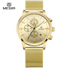 MEGIR 2011 Luxury Brand Chronograph Watch with Golden Mesh Strap For Men