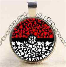 Cute Silver Anime Pokemon Pokeball Jewelry Glass Dome Pendant Necklace Toy Gift