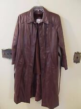 Vintage Classic Directions Leather Brown Size 16 Women Long  Coat Lined