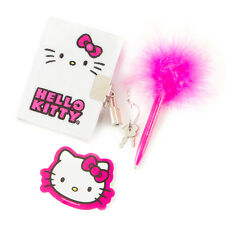 Hello Kitty Plush Mini Diary with Lock & Marabou Feather Pen Sticker Sanrio NWT