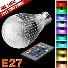 E27 9W RGB LED 16 Color Changing Lamp Light Bulb + IR Remote Control Multi Color