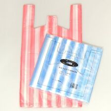"100 NEW LARGE Candy Stripe Plastic Vest Carrier 11x17x21"" Blue/Red & White Bags"