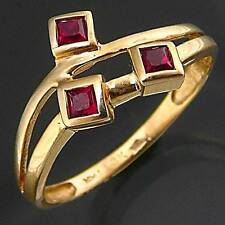 Asymmetric 3 scattered Ruby 10k GOLD DRESS RING estate yellow solid Sz O