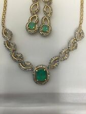 Emerald necklace 14kt and errings with 4.75 carat emerald and 6 carats diamonds