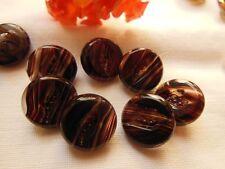 lot 7 boutons vintage en verre marron  camaieu diamètre: 1,1 cm
