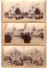 3 Stereoview Images. USA Capitol Sphinx & Great Pyramid Church Of Nativity