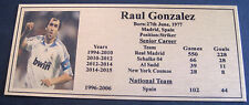 Soccer RAUL GONZALEZ Plaque NEW Silver Free Postage