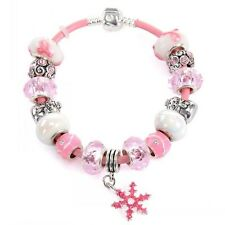 pink snowflake Crystal Charm Bracelets Women With White Murano Glass Beads UK