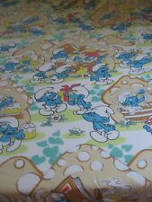 Smurfs VTG FULL Size Bed Set Fitted Top Sheet 2 Pillowcase 1980's Peyo FABRIC
