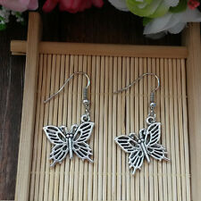 Gothic Metal Silver Plated Butterfly Earrings@3