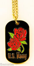 NAVY  WOMANS LADIES WITH ROSES MILITARY  DOG TAG WITH CHAIN