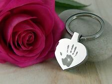 Personalised Hand/footprint Engraved Heart Keyring &Text -  VALENTINES Gifts