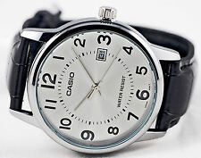 Casio MTP-V002L-7B Men's Analog Watch Silver Black Leather Band Date Display New