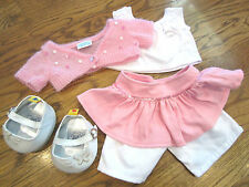 Build a Bear Pink and White Spring Cotton Candy Outfit with Shoes Skirt Top Set