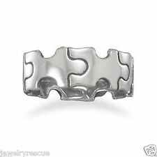 Sterling Silver Puzzle Piece Band Ring Autism Awareness Size 5 Thumb Ring Too