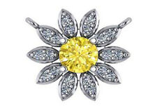 "0.7 carat yellow sapphire diamond flower pendant 18k white gold 18"" cable chain"