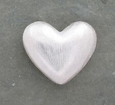 Bali Sterling Silver Brushed Satin Heart Bead 24mm x 19mm
