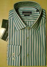 """TOMMY HILFIGER"" TAILORED/FITTED GREEN/BLUE STRIPED SHIRT 16""COLLAR/EU 41 BNWT"