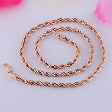 "Vogue Rose Gold Plated Fashion Hemp Rope Chain 18.9"" Long Necklace 4mm Wide"