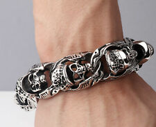 Rocker Biker Punk PIRATES OF THE CARIBBEAN SKULL Stainless Steel Bracelet Chain