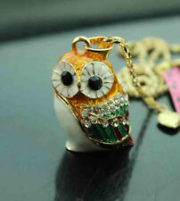 A572    Betsey Johnson  Crystal   Enamel Cute Owl Pendant Long Necklace