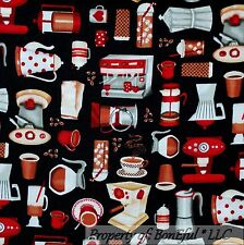 BonEful Fabric FQ Cotton Quilt Black Brown Coffee Shop Blender Cup Tea Bean Xmas