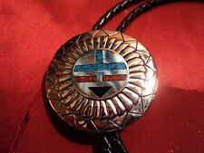 Stainless Steel Turquoise, Coral, onyx inlaid bobo w leather tie & tips. 1994