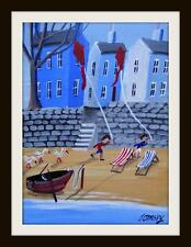 "Seaside Kite Flying : Primitive Northern Art Oil Painting : John Ormsby 14""X 10"""
