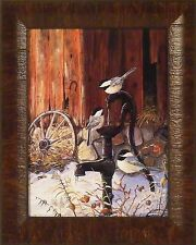AT THE PUMP - Chickadees by Terry Doughty FRAMED PRINT 12x15 Birds Wagon Wheel