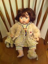 vintage Unknown Porcelain Doll Baby with Teddy Bear Lady Bug Bee Bear Sweater
